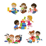 Kids Playing Indoors Set. Of Colorful Simple Design Vector Drawings Isolated On White Background Stock Photography