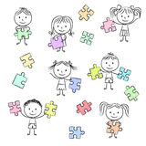 Kids playing with jigsaw puzzle. Illustration of kids playing with jigsaw puzzle, hand drawn style Stock Image