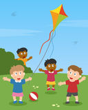 Kids Playing with a Kite. A group of multicultural kids playing with a kite in a park. Eps file available Stock Photography