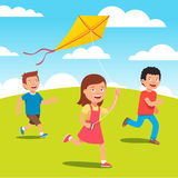 Kids playing with kite together at the meadow. Kids playing with yellow kite together at the meadow. Flat style vector illustration Royalty Free Stock Photography