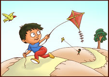 Kids playing with kites Stock Photography