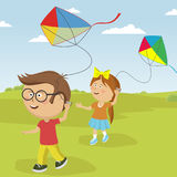 Kids playing with kites outdoor in summer stock illustration