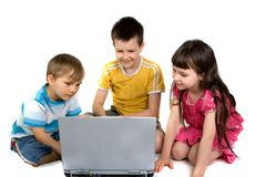 Kids Playing on a Laptop Computer Stock Photography