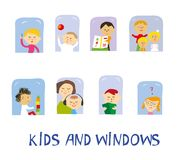 Kids playing, learning and having fun set at home near the windows, graphic illustration. Kids playing, learning and having fun set at home near the windows Stock Image