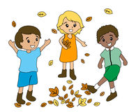 Kids Playing with Leaves Royalty Free Stock Photo