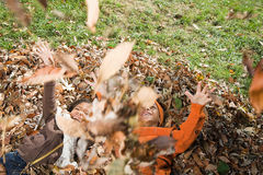 Kids playing in leaves stock images