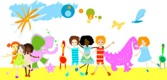 Kids playing with little anima. Kids playing with dinosaurs and other little animals on a field Stock Image