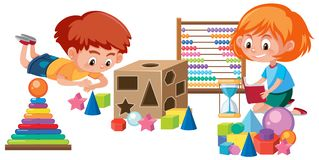 Kids playing with math toy. Illustration royalty free illustration