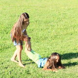 Kids playing on meadow Stock Photography