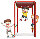 Kids playing with a monkey bars stock illustration