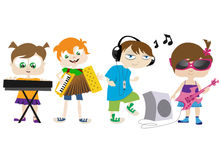 Kids playing music Stock Photos
