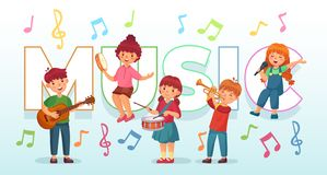 Free Kids Playing Music. Children Musical Instruments, Baby Band Musicians And Dancing Kid Singing Or Playing Guitar Vector Royalty Free Stock Photos - 141652358