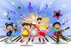 Kids playing music instrument. Illustration of kids playing music instrument on fun background Royalty Free Stock Photo