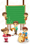 Kids playing music poster Stock Photo