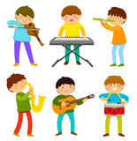 Kids playing music. Set of kids playing musical instrument Stock Photography