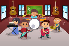 Kids Playing Music. A vector illustration of kids in music band Stock Photo