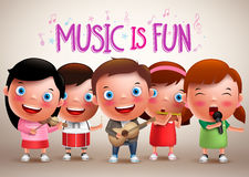 Kids playing musical instruments vector characters while singing Stock Images