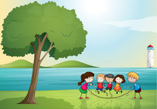 Kids playing in nature. Illustration of kids playing in a beautiful nature Stock Photography