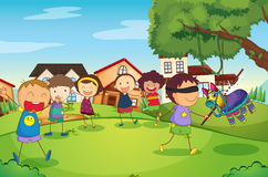 Kids playing in nature vector illustration
