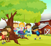 Kids playing in nature royalty free illustration