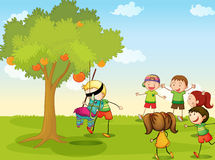 Kids playing in nature. Illustration of kids playing games in nature Stock Photography