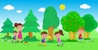 Kids playing in nature. Children and adult playing outdoor, vector illustration Royalty Free Stock Image