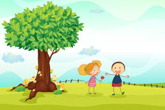 Kids playing in nature. Illustration of kids playing in the nature Stock Photos