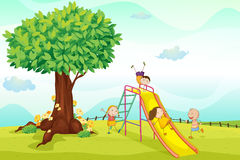Kids playing in nature stock illustration