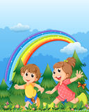 Kids playing near the garden with a rainbow Royalty Free Stock Photography
