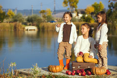 Kids playing near the lake in autumn Stock Image
