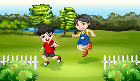 Kids playing near the river. Illustration of the kids playing near the river Royalty Free Stock Photo