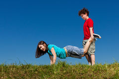 Kids playing outdoor Stock Image