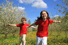 Kids playing outdoor stock images