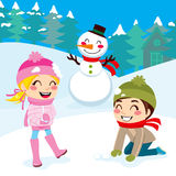 Kids Playing Outdoors. Kids playing snowball fight and making snowman outdoors on snowed winter forest background royalty free illustration