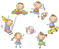 Kids playing outdoors. Happy cartoon kids playing outdoors vector illustration