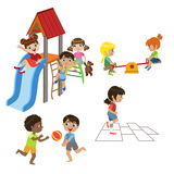 Kids Playing Outdoors Set Royalty Free Stock Photography