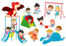 Kids playing Outside, child playing at playground,happy children playing park Vector illustration. Kids playing Outside, child playing at playground,happy royalty free illustration
