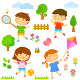 Kids playing outside. Set of cute kids playing outdoors and elements of nature Royalty Free Stock Photography