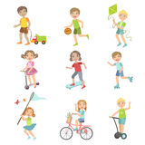 Kids Playing Outside Set. Of Simple Design Illustrations In Cute Fun Cartoon Style On White Background royalty free illustration