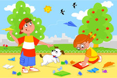 Kids playing with paper airplanes. Boy and girl playing with paper airplanes royalty free illustration