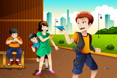 Kids playing paper plane Stock Images