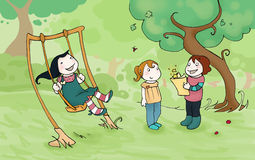 Kids playing in the park. Three girls playing in the park. Digital colors Stock Photo