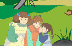 Kids playing in the park. A image information is a girl asking a idea in other girl in playing tricks Stock Photos