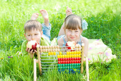 Kids playing in the Park - Children learns count outdoor. Education concept. Learning, clever children Royalty Free Stock Image
