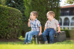 Kids playing in the park. Two brothers playing in the park Royalty Free Stock Photo