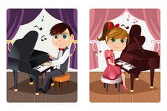Kids playing piano vector illustration