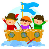 Kids playing pirates Stock Photo
