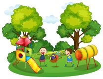 Kids playing in the playground. Illustration Royalty Free Stock Photos