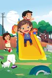Kids Playing in the Playground Illustration Royalty Free Stock Image