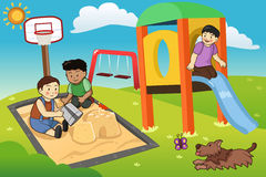 Kids Playing in the Playground royalty free illustration